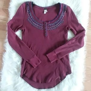 Free People long sleeve henley thermal top large